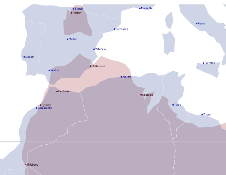 Map Of Australia On Europe.Australia S Latitude In Perspective Happy Logic Online